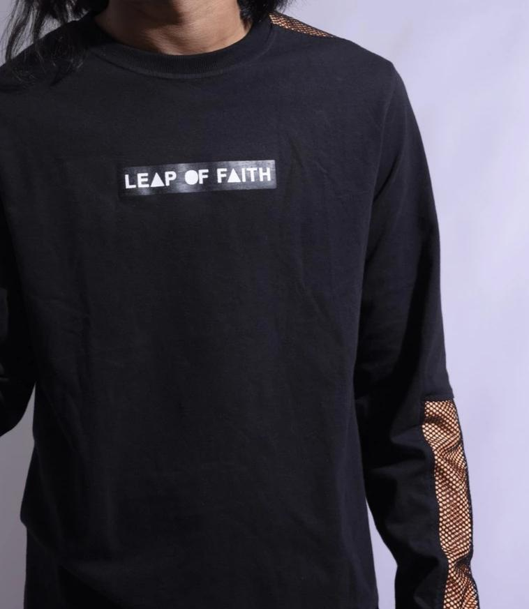 Black Leap of Faith Graphic Printed Long Sleeve T-shirt