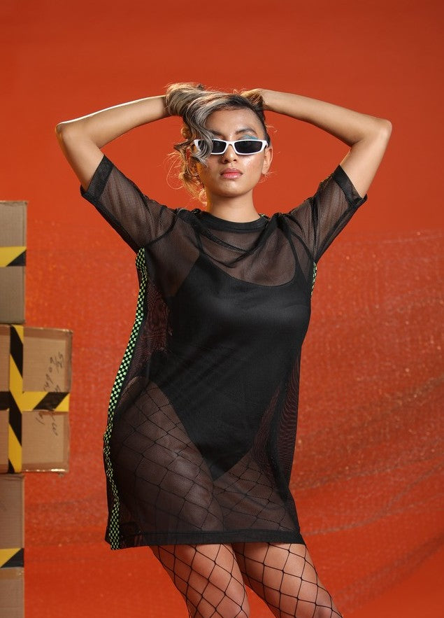 Black Mesh Boxy Dress