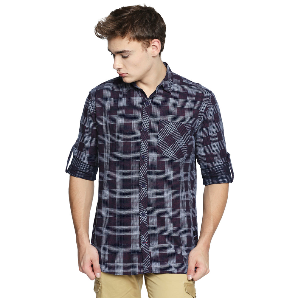Disrupt Navy Cotton Fabric Full Sleeve Checkered Shirt
