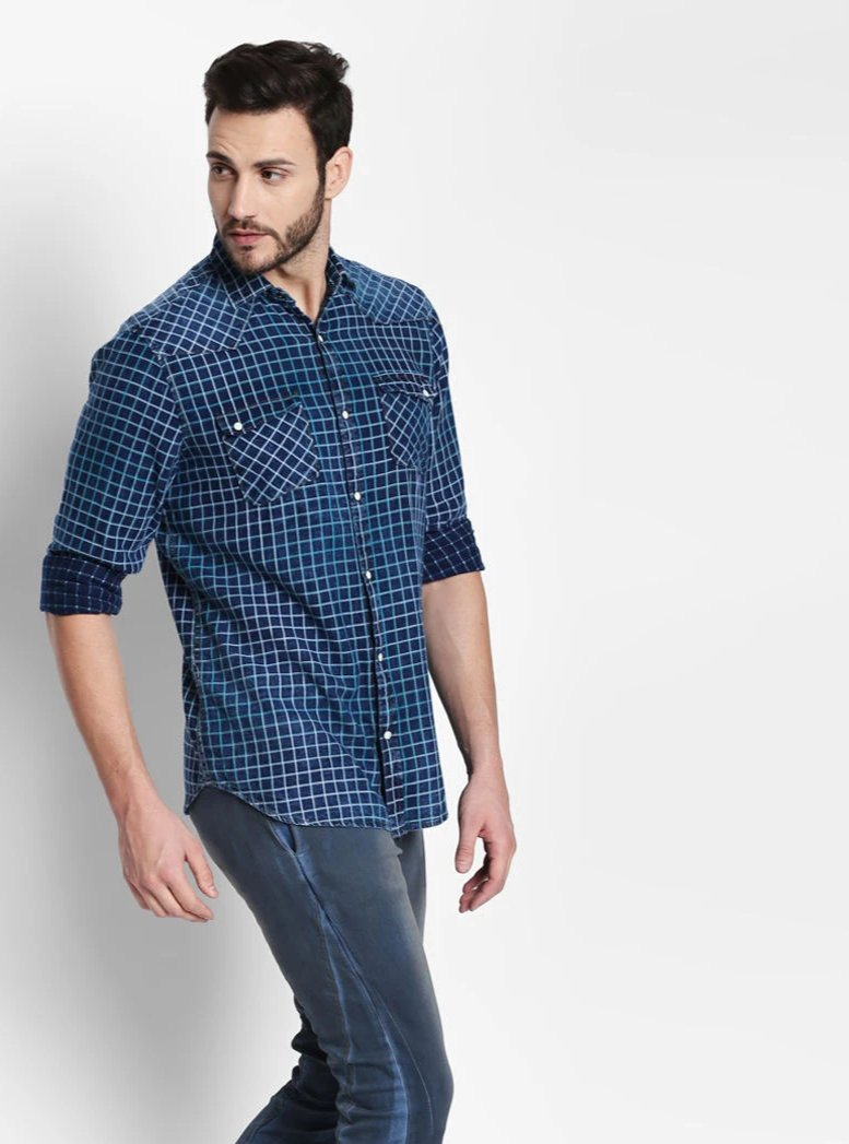 Disrupt Navy-Green Cotton Fabric Full Sleeve Checkered Shirt For Men's