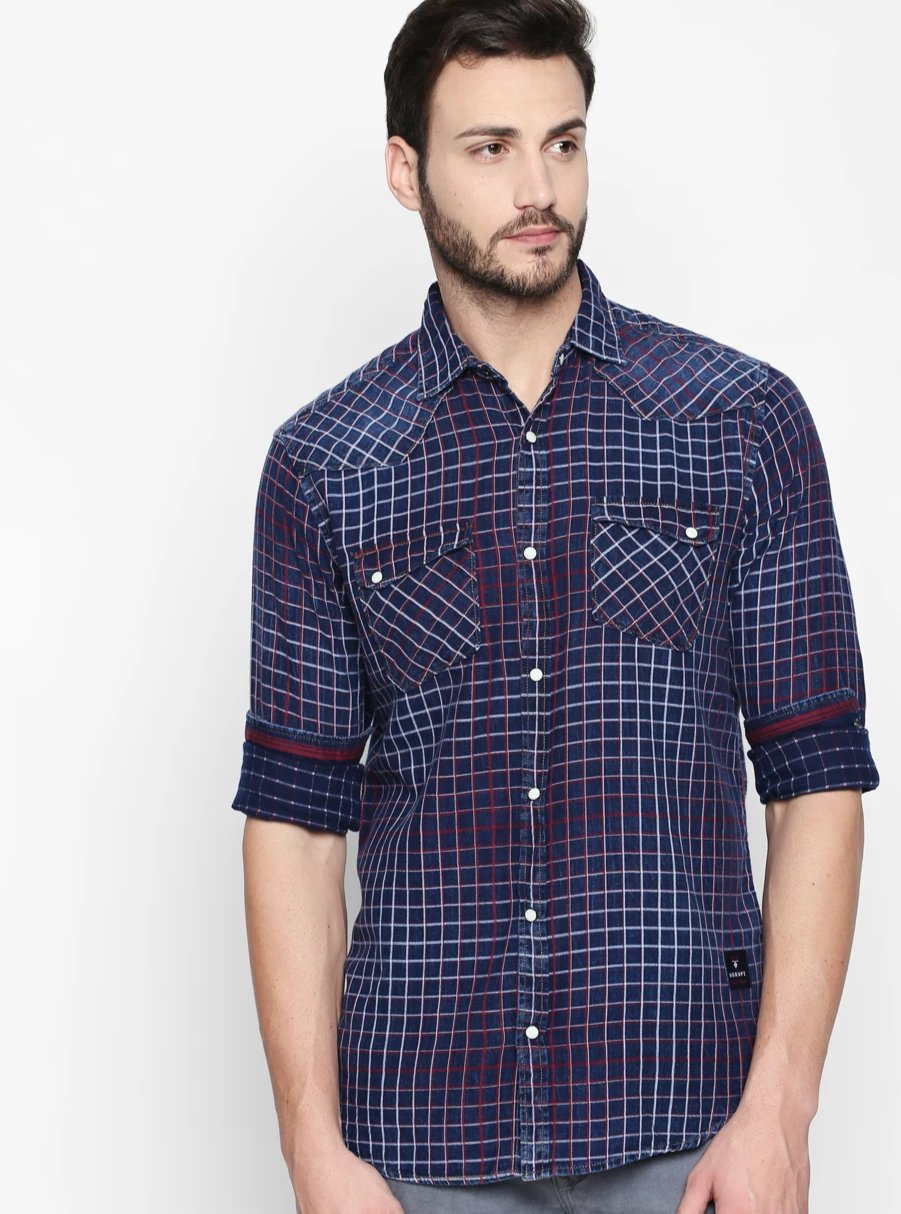 Disrupt Navy-Red Cotton Fabric Full Sleeve Checkered Shirt