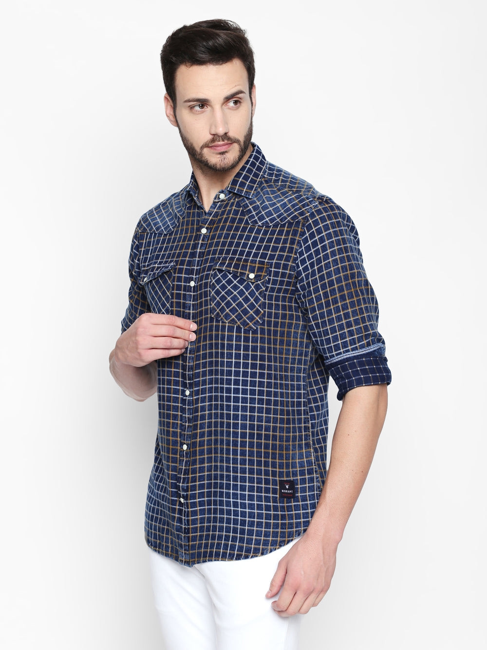 Disrupt Blue & Navy Cotton Full Sleeve Checkered Shirt