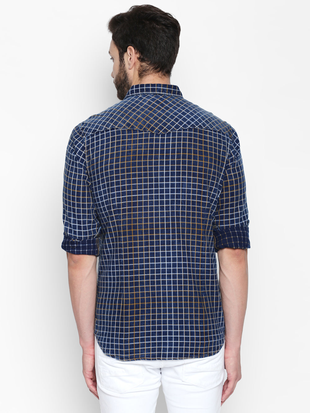 Disrupt Blue & Navy Cotton Full Sleeve Checkered Shirt For Men's