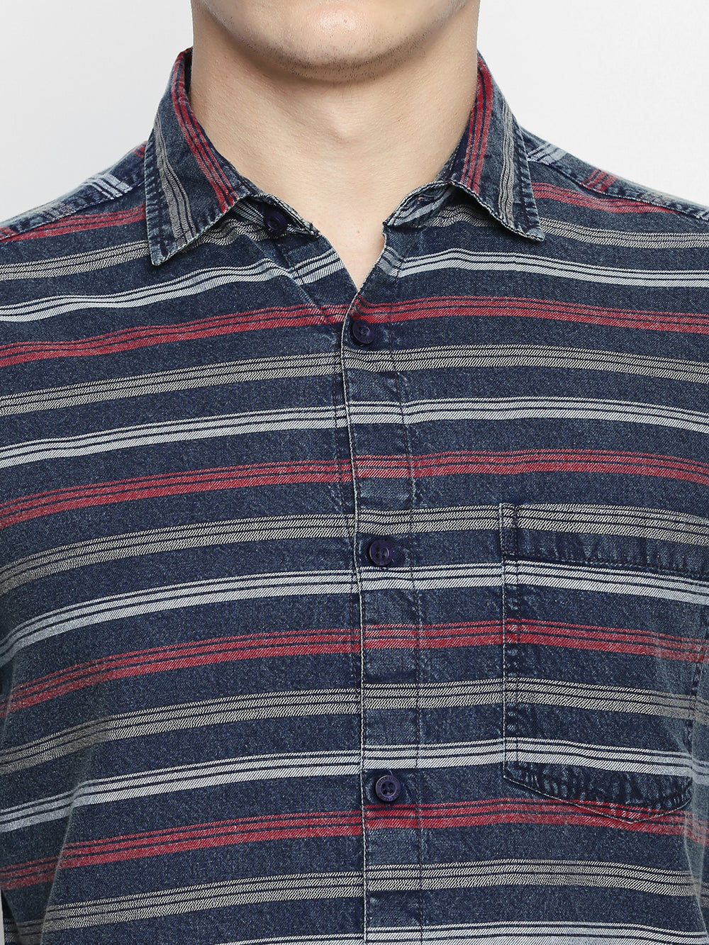 Disrupt Navy-Red Cotton Fabric Full Sleeve Striped Shirt