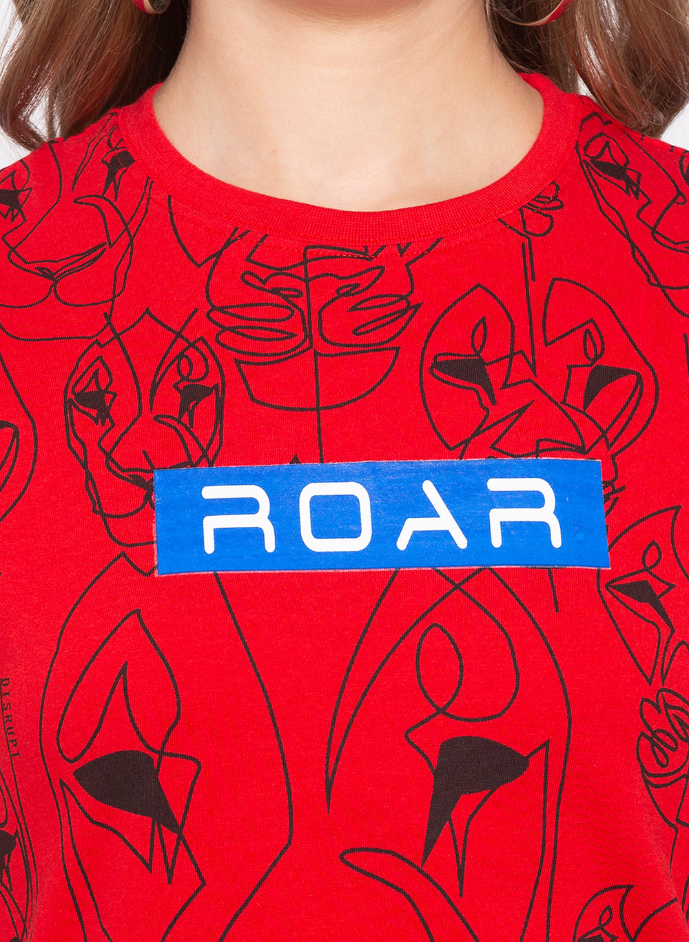 Red Roar Graphic Print Cotton T-shirt For Women's