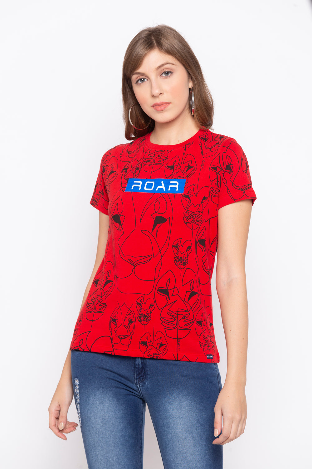 White Roar Graphic Print Cotton T-shirt For Women's