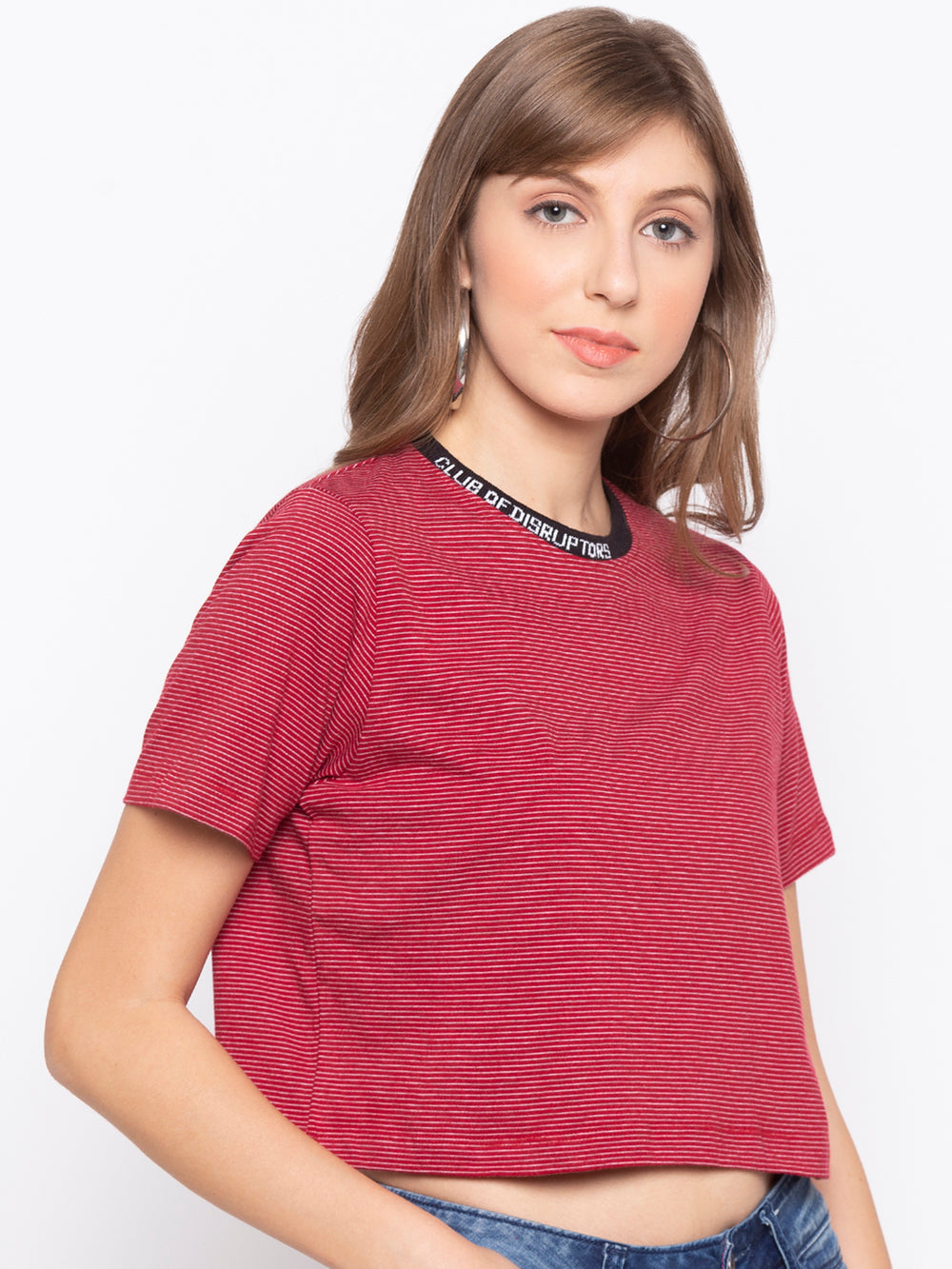 Red yarn-dyed stripe half sleeve cropped T-shirt