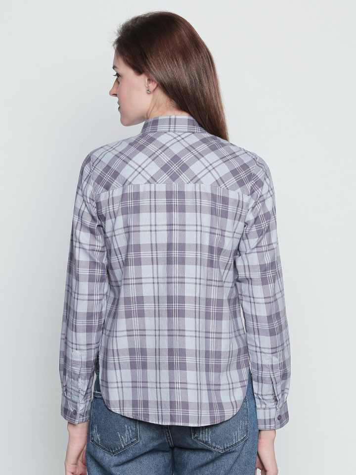 Grey N Purple Cotton Fabric Checkered Regular Fit Shirt