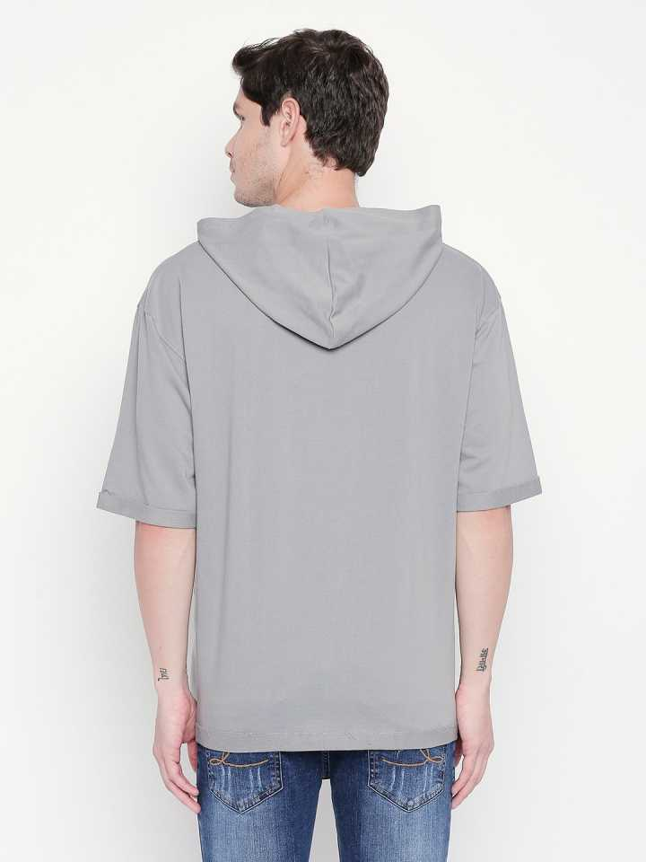 Disrupt Light Grey Graphic Print Hoodie For Men's