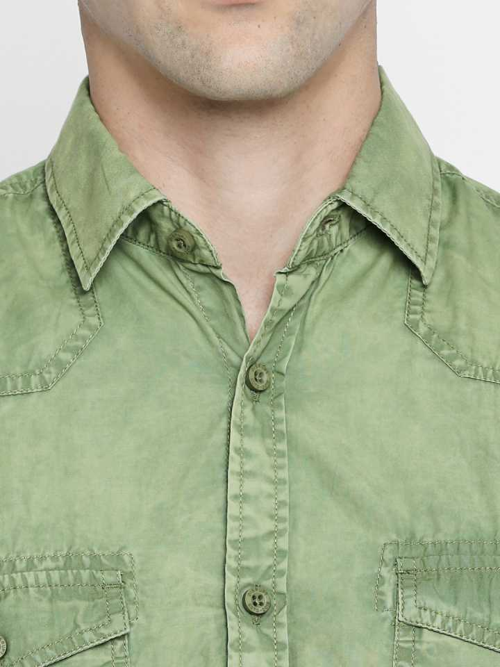 Disrupt green Cotton Full Sleeve Solid Shirt For Men's