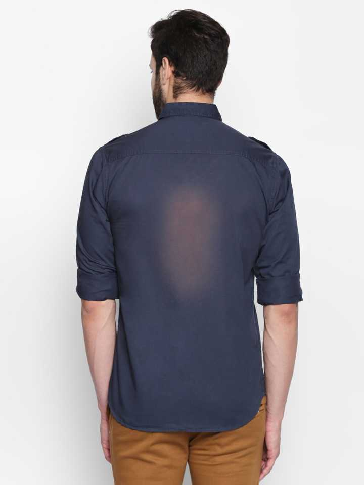 Disrupt Navy Cotton Full Sleeve Casual Shirt