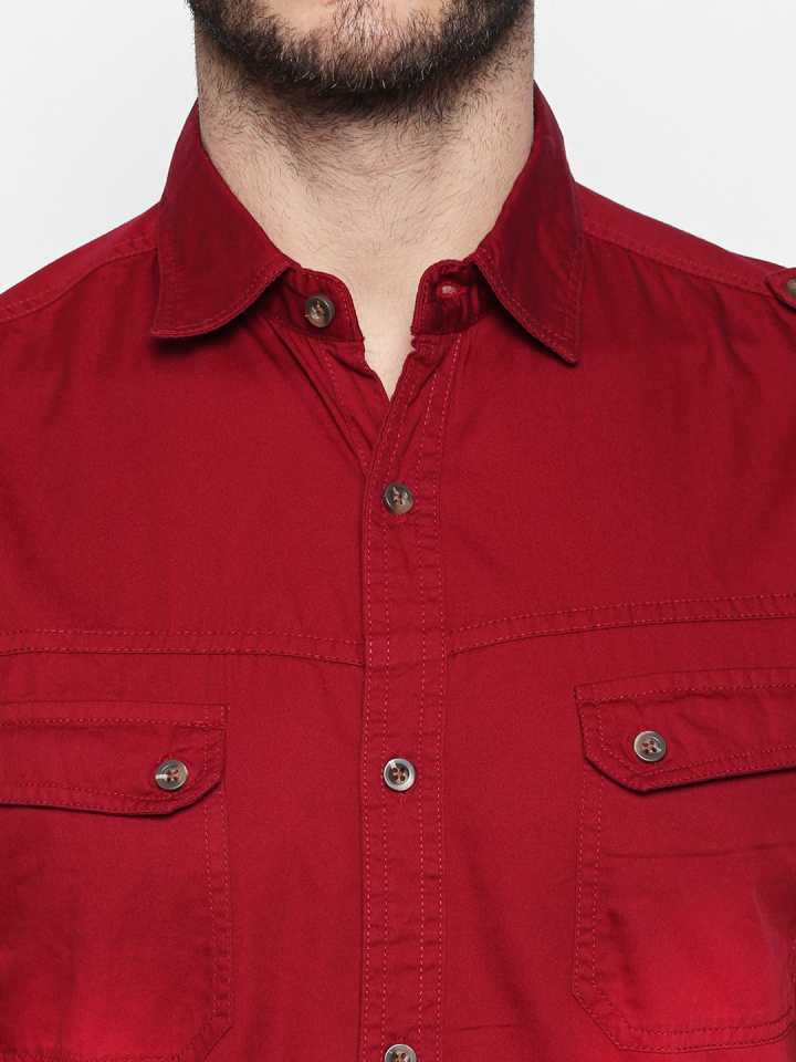 Disrupt Maroon Cotton Full Sleeve Casual Shirt For Men's
