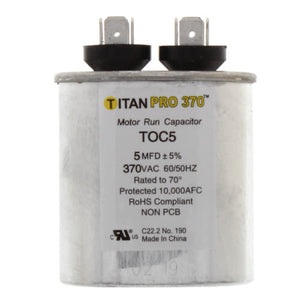 TITAN PRO TOC5 CAPACITOR 5M370V RUN CAPACITOR OVAL