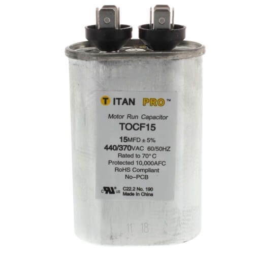 TITAN PRO TOC15 CAPACITOR 15M370V RUN CAPACITOR OVAL