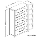Eston Bookcase 5-Tier - Jory Henley Furniture