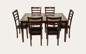 Mission Dining Suite Marble Top 7 Piece
