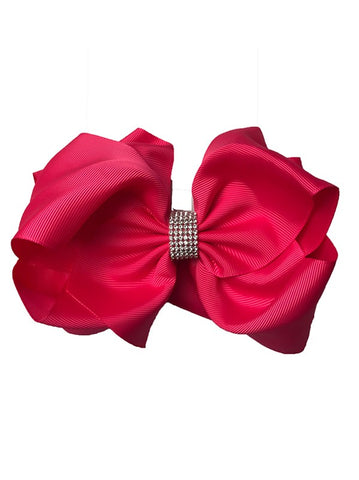 Hot Pink Double Layer Rhinestone Bow
