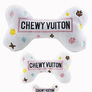 SMALL White Chewy Vuitton Dog Toy