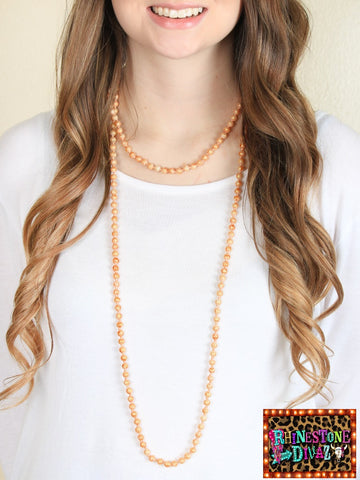 "60"" Soft Peach Bead Necklace"