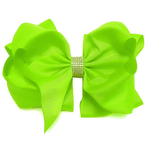 Lime Green Double Layer Rhinestone Bow