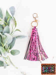 Pink Leopard Fringe IPHONE Keychain Charger