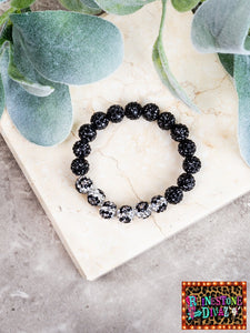 Black Leopard Stretch Bracelet