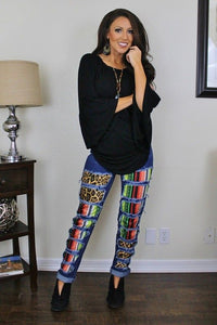 302 Serape/Leopard Distressed Jean