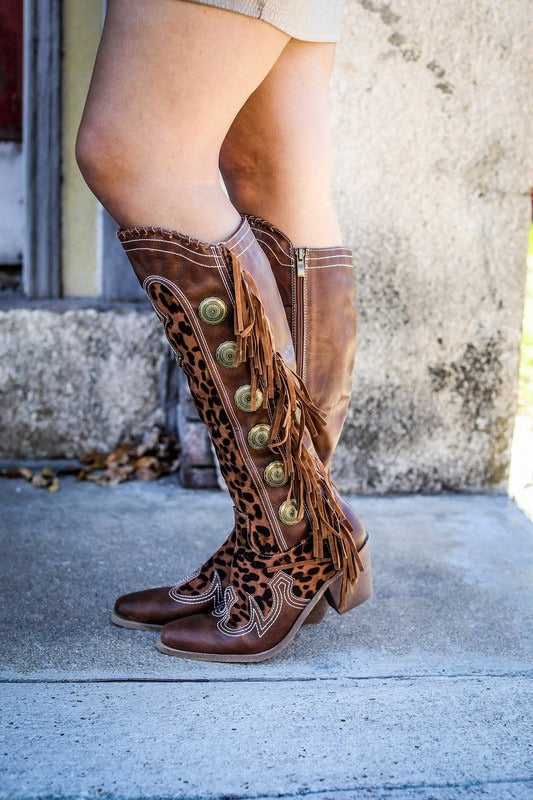 Leopard Fringe Concho Boot