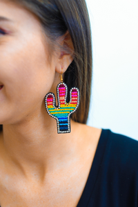 Beaded Rhinestone Cactus Earrings