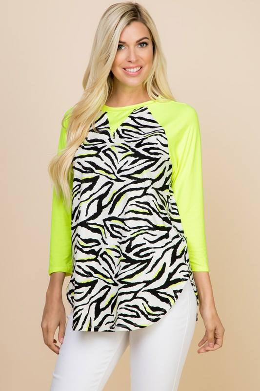 Neon Yellow Zebra Top