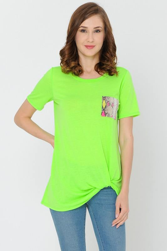 Neon Green Tee With Multi Color Snake Pocket