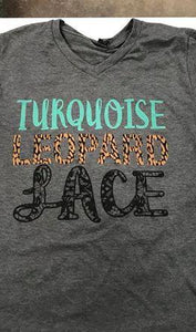 Turquoise Leopard And Lace Tee