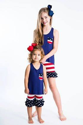 Kids Red/White Blue Outfit Set