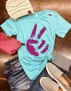 Teal Peace Sign