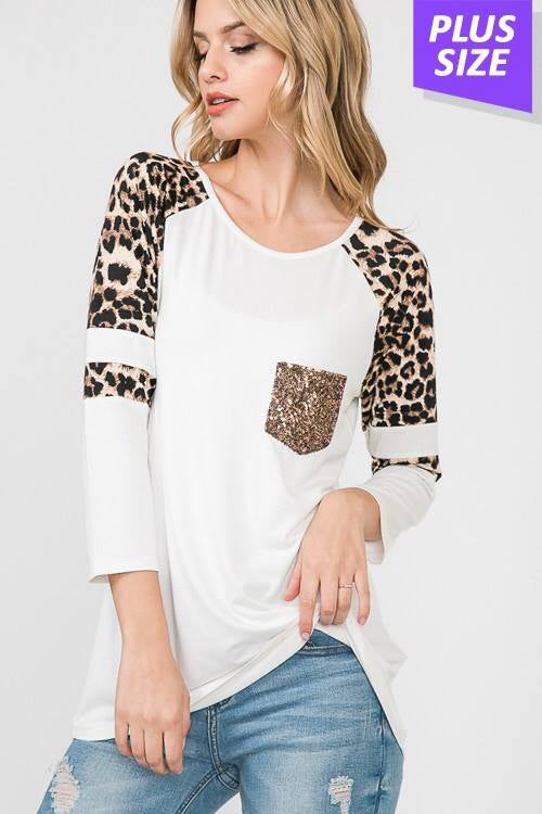 White Leopard Sequin Pocket Top