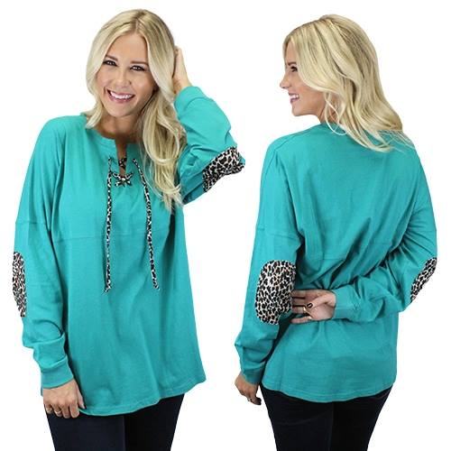 90100 Teal Leopard Drawstring Top