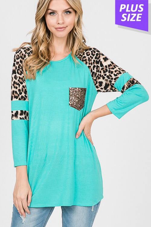 Teal Leopard Sequin Pocket Top