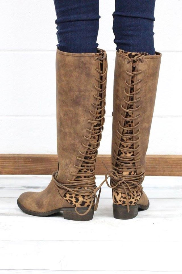 Leopard Lace Up Boot