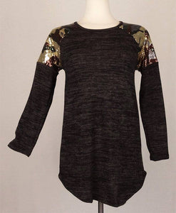 Camo Sequin Shoulder top