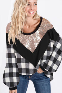 Black/White Pliad Gold Sequin V Contrast Top
