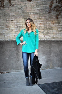 Teal Lb Lace top