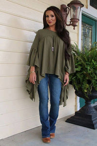 Olive Flowy Lb Top