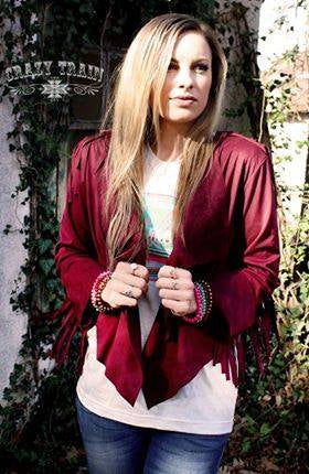 Wine Clamity Jane Fringe Jacket