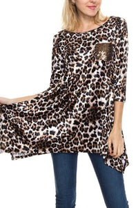 Leopard Shark Bite Tunic With Sequin Pocket