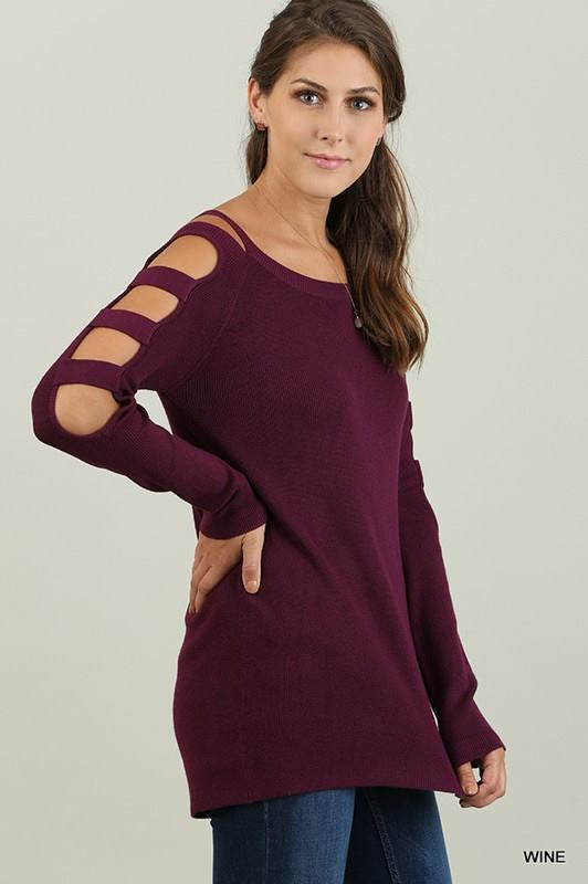 Wine Split Sleeve Top