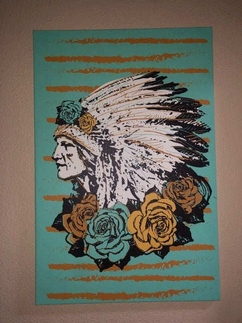 Teal/Mustard Indian Canvas
