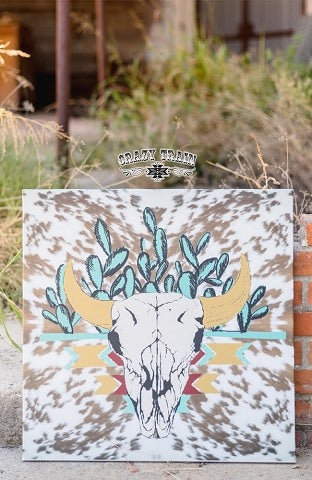 Bunk House Bull Skull Canvas