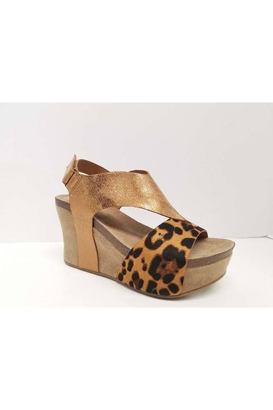 Gold/Leopard Leather Wedge