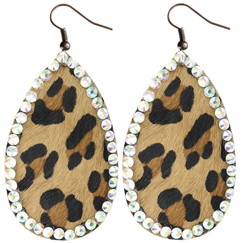 Rhinestone Hair On Hide Teardrop Earrings