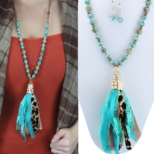 Turquoise/Leopard Tassel Necklace